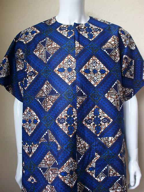 Blue Tan Diamond Tunic
