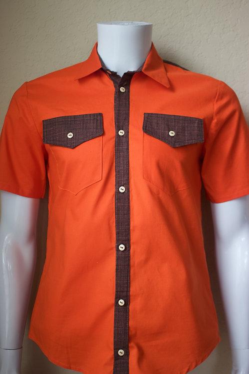 Men's orange and brown shirt