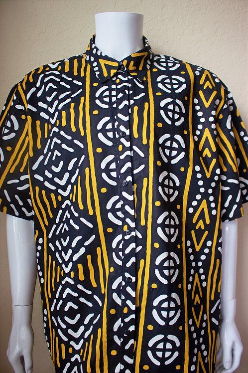 Bogolan Print African Fabric Short Sleeve