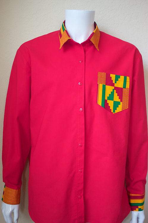 Red Long Sleeve with Kente Accent