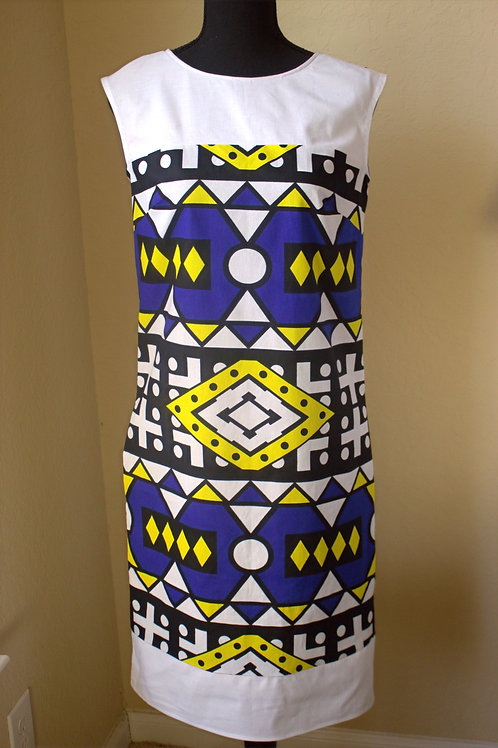 Ankara Sheath Boatneck Dress