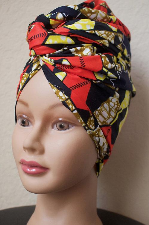 Red & Yellow Ankara African Print Headwrap