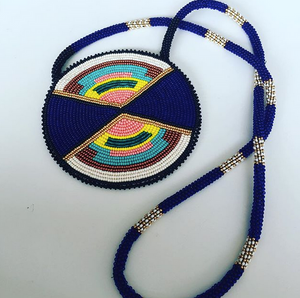 An example of Leslie's beautiful medallion beadwork