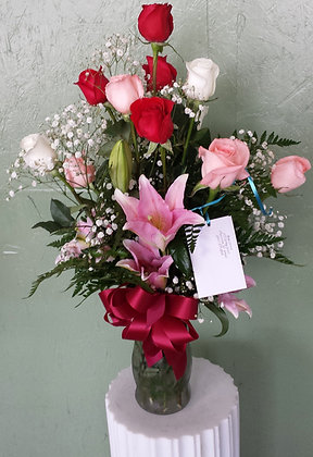 Multi Colored Rose Arrangment