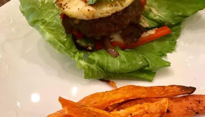 Pineapple burger and Sweet Potatoe Fries