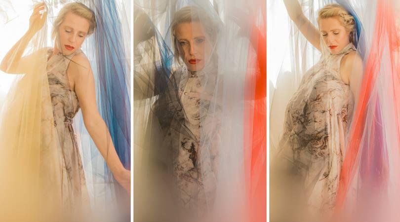 מיכל פורטמן. שמלה: אן ברקוביץ'. צילום: מיטל אזולאי