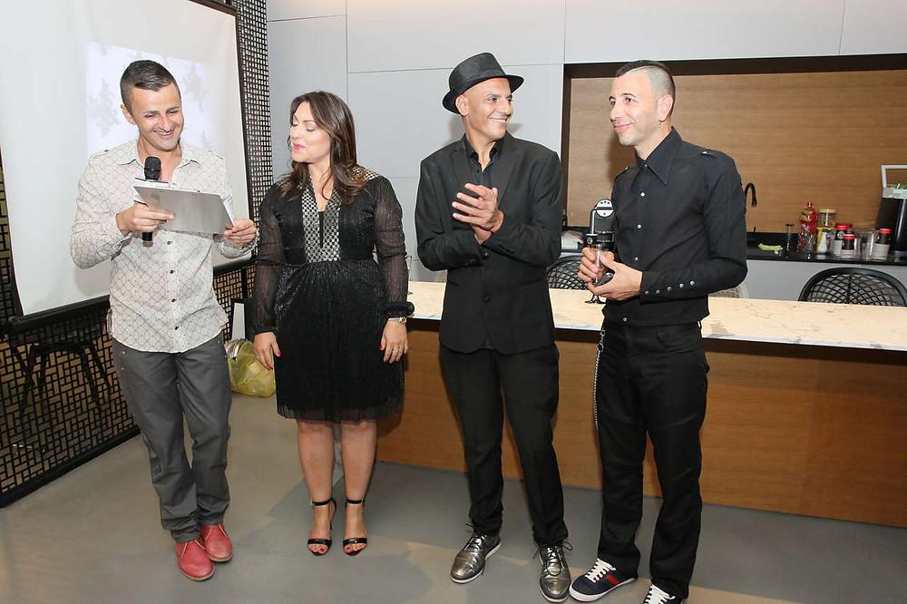 מימין לשמאל: מארגני התחרות טל דקל, אפי אליסי, קרין ברודנו ואיתי גורביץ. צילום: ראובן שניידר