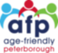 Logo of afp: age-friendly peterborough.  3 coloured shapes to represent people