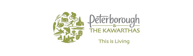 Peterborough & the Kawarthas logo:  This is Living.  Ball shaped logo wih images of activities in the region -- liftlock, dama, cooking, cycling, camping, etc.