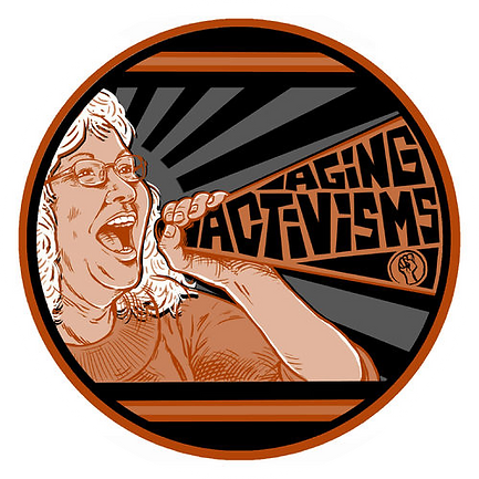 Aging Activisms Logo, drawi of older person shouting into megaphoneg