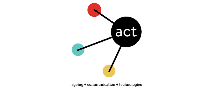 ACT:  ageing + communication + technologies logo  Black dot with act in white letters connected to 3 coloured dots