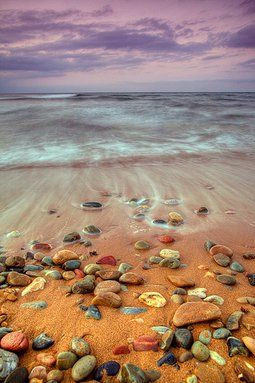 A STONE IN WET SAND
