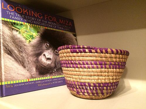 M purple & white striped bowl