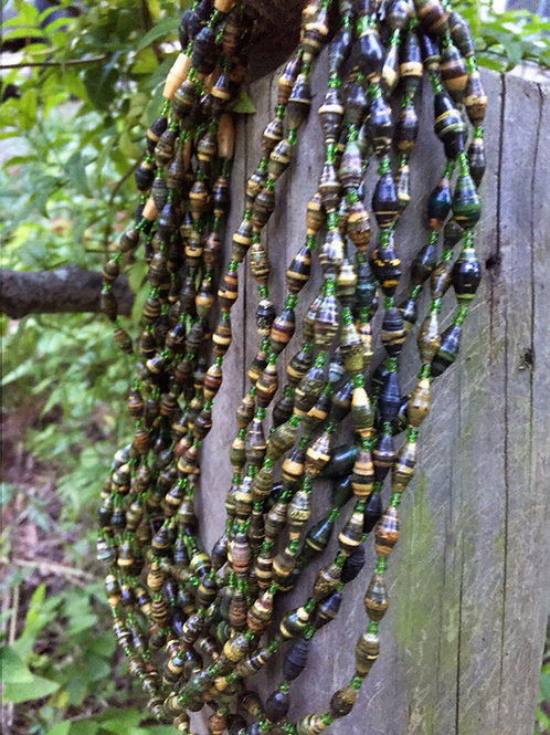 Paper bead necklace - green/ black small beads - - medium length