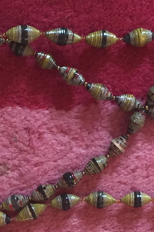 Paper bead necklace -blue-gray-yellow, chunky bead