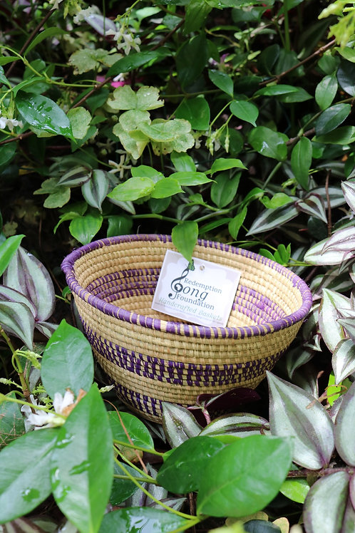 Medium purple & white striped bowl
