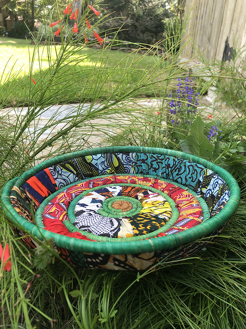 Green African Fabric Shallow Tray