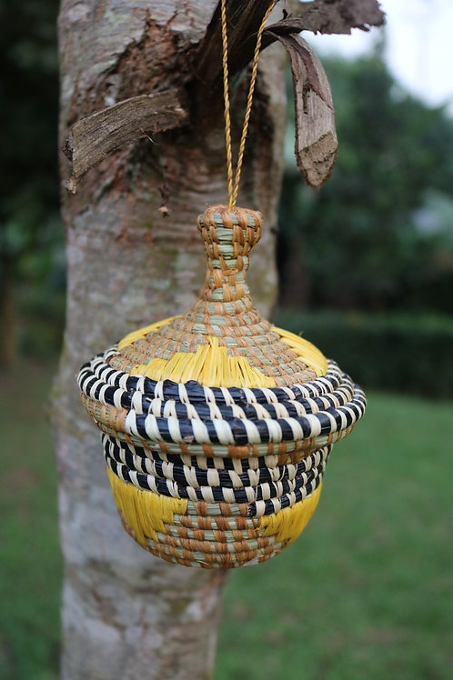 Small lidded basket with black, white & yellow accents