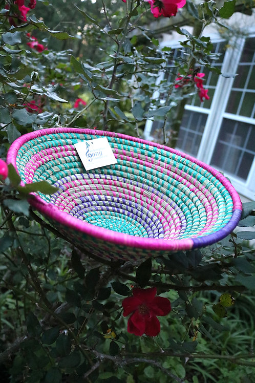 XXL pink, green & purple shallow bowl