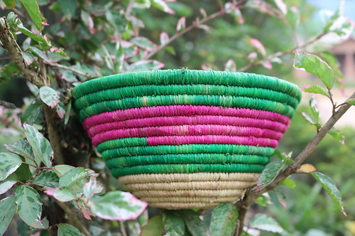 Pink, green and white striped bowl