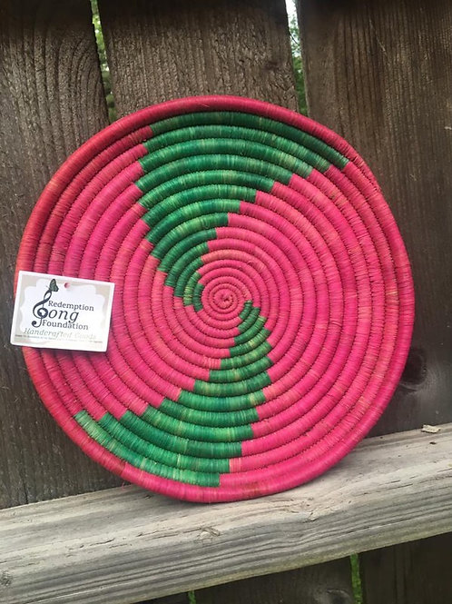 Pink and green swirl tray