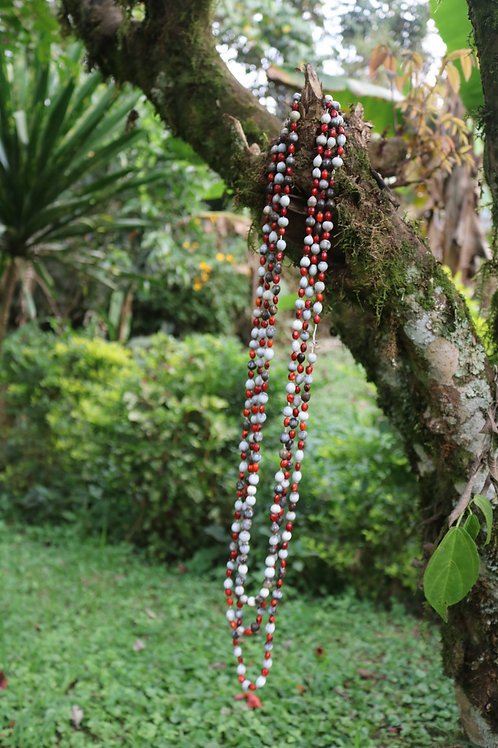 Flame tree seed necklace - red and gray