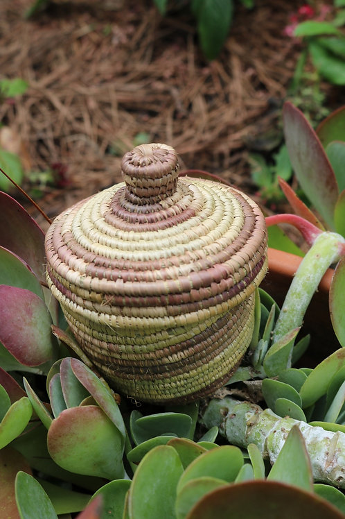 Small multicolor natural lidded basket