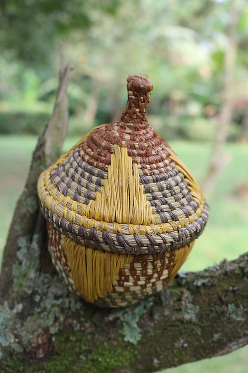 S brown/green lidded basket with yellow accent