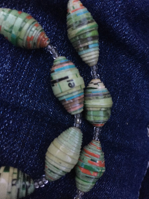 Paper bead necklace - pale green, chunky beads