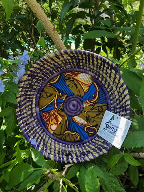 Blue African Fabric Shallow Tray