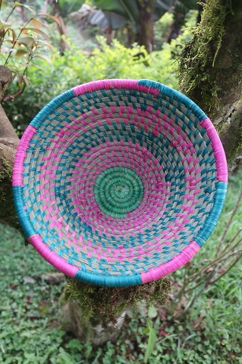Teal, pink and green bowl