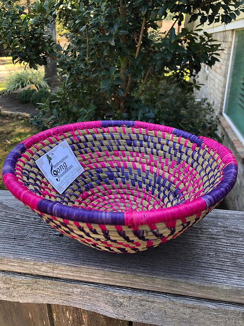 Purple and Pink Striped Bowl