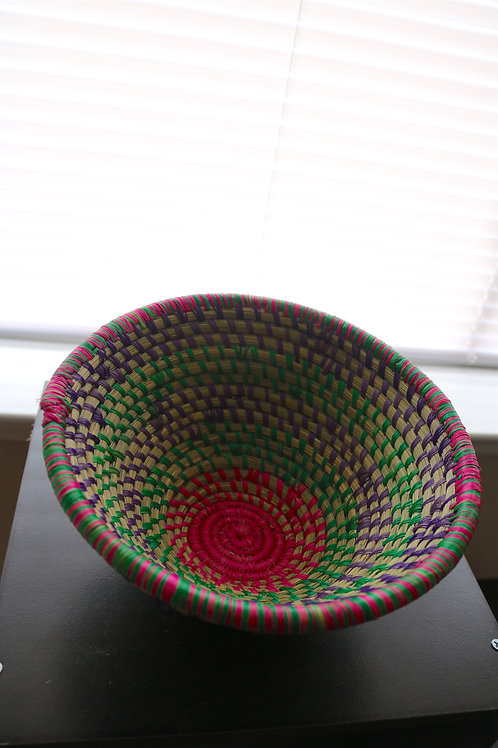 Pink, purple and green swirl bowl
