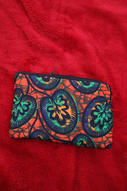 Small orange & green fabric pouch