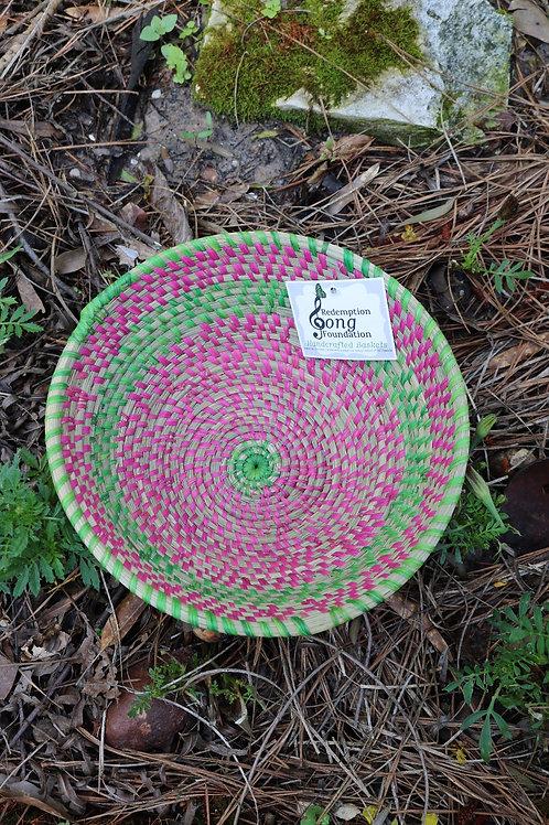 Large pink & green bowl