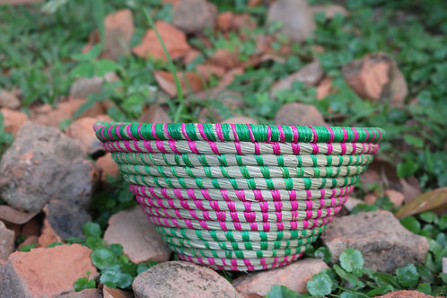 Pink and green striped bowl