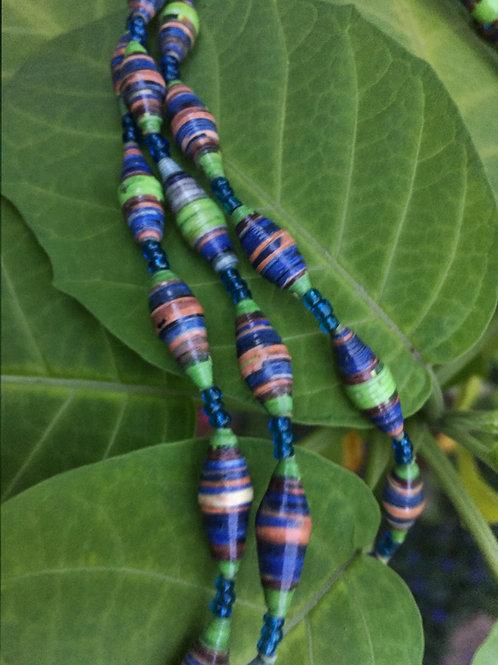 Medium length paper bead necklace: purple, green, melon