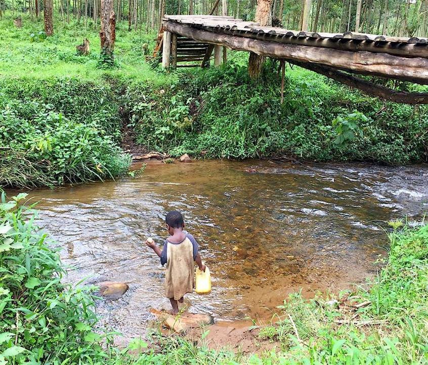 Gathering river water