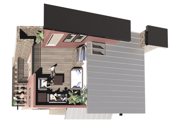 roof deck and balconies