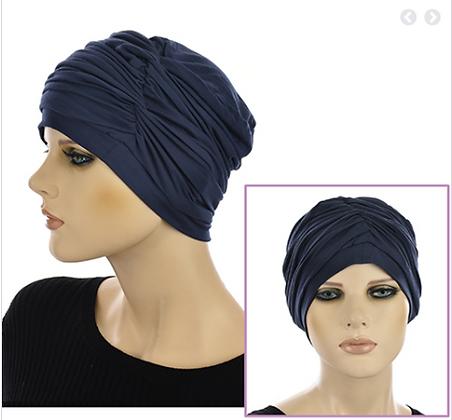 Bamboo Turban with Twin Twists Carol-Navy Blue