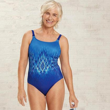 Amoena Rome One-Piece Mastectomy Swimsuit - Navy / turquoise 71379