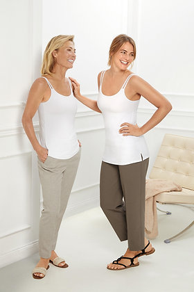 Amoena Valletta Tall Top Mastectomy Camisole - White 71512 (extra length)