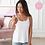 Thumbnail: Amoena Valletta Tall Top Mastectomy Camisole - White 71512 (extra length)