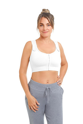 Amoena Sina Seamless Non Underwired Pocketed Surgical Bra -White 45007