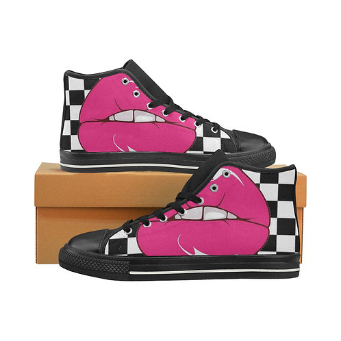 Checkered Kisses Canvas High Tops