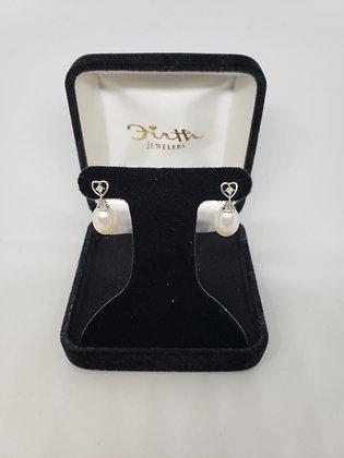 Drop Pearl Earrings, Diamonds in Heart Mountings