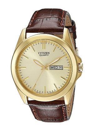 Citizen Quartz Gold Tone Men's Watch w/ brown leather strap