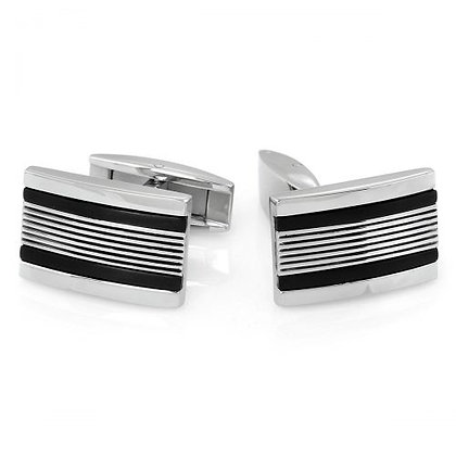 Stainless steel Cuff Links with Diamond-cut Lines