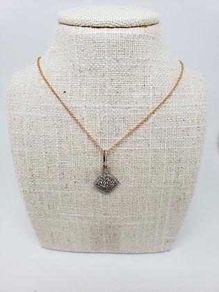 White and Brown 'Pumpkin Spice' Diamond Pendant