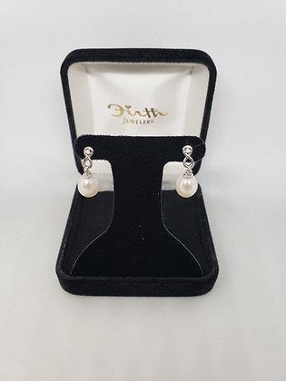 Drop Pearl Earrings with Melee Diamonds